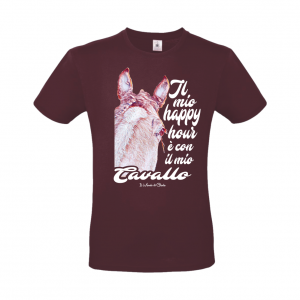 T-shirt Happy Hours Cavallo bordeaux