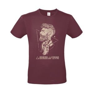 t-shirt la barba dell'anno colore vintage red con stampa beije