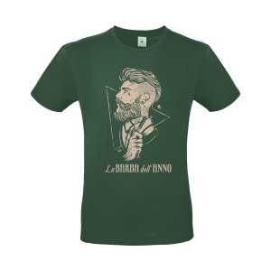 t-shirt la barba dell'anno vinatge color green con stampa sabbia